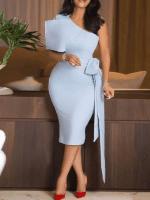 Oblique Collar Half Sleeve Mid-Calf Plain Womens Dress