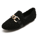 Furry Outer Wearing Lamb Fur Loafers