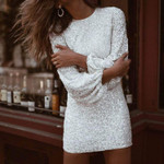 Round Neck Sequins Plain Womens Long Sleeve Dress