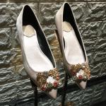 Silk Glitter Square Buckle Loafer