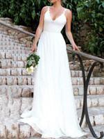 Sleeveless Floor-Length V-Neck Backless Lace Womens Dress