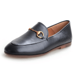 Classic Metal Buckle Leather Loafers
