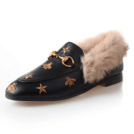 Horsebit Bee Star Embroidered Fur Loafers