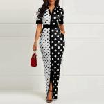 Pocket Short Sleeve Polka Dots Womens Maxi Dress