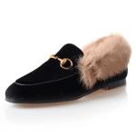 Classic Horsebit Velvet Fur Flat Loafers