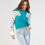 Arm Leopard Pattern Knitted Pullover Sweater