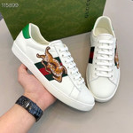 Gucci Ace Tiger Embroidered Leather Sneaker in White for Men