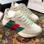 Gucci Rhyton 'Web Print' Marathon Running Shoes/Sneakers - mystic white
