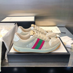 shoes Gucci Screener leather sneakers pink stripe