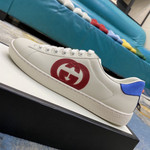 Gucci ACE White White/red/blue leather Ace logo-patch sneakers