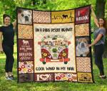 On Dark Desert Highway Hippie Van Bulldog Quilt Blanket Dog Lover