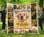 You Are My Sunshine Sunflower Golden Retriever Quilt Blanket