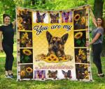 German Shepherd You Are My Sunshine Sunflower Quilt Blanket