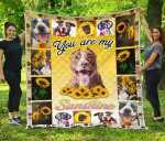 You Are My Sunshine Sunflower Pit Bull Quilt Blanket