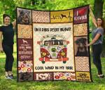 Dog On Dark Desert Highway Hippie Van Rottweiler Quilt Blanket