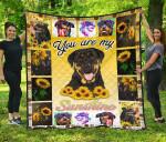 You Are My Sunshine Sunflower Rottweiler Quilt Blanket