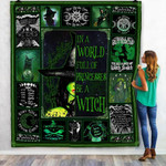 In A World Full Of Princesses Be A Witch Green Halloween Quilt Blanket