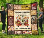 On A Dark Desert Hippie Van Golden Retriever Quilt Blanket