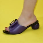 Sandalias de tacón de cristal liso para mujer, zapatos de boda, elegantes, de punta redonda