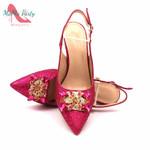 Conjunto de zapatos y bolsos africanos a la moda para mujer, zapatos nigerianos italianos de Color fucsia con bolsos a juego para fiesta de boda real