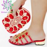 Conjunto de zapatos y bolso africano a juego para mujer, zapatos y Bolsa decorado con diamantes de imitación