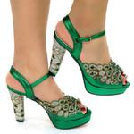 Zapatos de tacón alto para mujer, calzado Sexy de fiesta, Stiletto, para bodas, Color verde, nigeriano