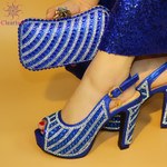 Zapatos de tacón con diamantes de imitación para mujer, calzado italiano con bolsa a juego para fiesta de noche