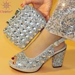 Zapatos nigerianos con bolsos a juego para mujer, zapatos de fiesta y bolso con tacones cómodos