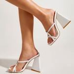 Sandalias de tacón alto fino para mujer, zapatos de boda, boda, banquete, vestido, color beige, Perla