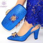 Zapatos elegantes de estilo africano para mujer, conjunto de bolso a juego, zapatos de tacón alto con diamantes de imitación de diseño italiano y bolsa para fiesta, 2019