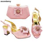 Zapatos de tacón con piedras para mujer, calzado italiano con bolsa a juego, para fiesta, boda, zapatos y Bolsa