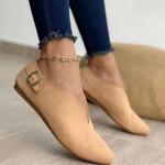 Zapatos planos de ante para Mujer, mocasines puntiagudos informales a la moda, sandalias de otoño