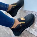 Zapatos Deportivos vulcanizados de suela gruesa para mujer, zapatillas informales de Color sólido con cuña para caminar