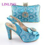 Sandalias de tacón alto italiano para mujer, zapatos de alta calidad y Linda bolsa a juego
