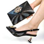 Conjunto de zapatos y bolsos africanos de Color melocotón para mujer, zapatos de zapatos y Bolsa italiano
