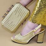 Conjunto de bolsos y zapatos de estilo africano para mujer, zapatos de lujo con decoración de Metal