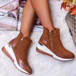 Zapatos informales de ante para mujer, zapatillas cómodas con cremallera, impermeables
