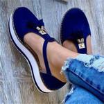 Zapatos planos de punta redonda con borlas para mujer, zapatillas informales de plataforma para mujer, zapatos vulcanizados para fiesta