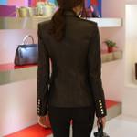 Chaqueta de piel sintética para mujer, abrigo básico con botones