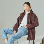 EAM-chaqueta holgada de piel sintética para mujer