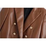 ZA-chaqueta de cuero PU para mujer