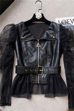 Chaqueta de cuero con costuras cortas para mujer, chaqueta de malla de moda