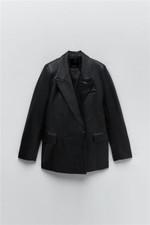 Za 21-chaqueta fina de imitación de cuero para mujer, traje con solapa y doble botonadura, Otoño e Invierno