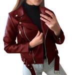 Chaquetas informales para mujer, abrigo corto de cuero PU para motocicleta