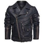 Chaqueta de cuero sintético para hombre, abrigos de piel sintética con bolsillos y cremallera