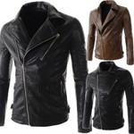 Chaqueta de cuero delgada para hombre, chaqueta de cuero grueso con múltiples bolsillos