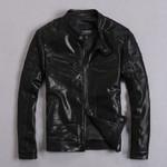 Ropa de piel de oveja auténtica para hombre, chaquetas de cuero real de diseño corto