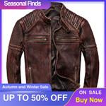 Chaqueta Vintage de cuero marrón para hombre