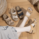Birkenstock Women Suede Flower Sewing Casual Sandals