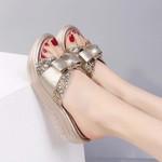 New Summer Bling Birkenstock Sequins Bow-Knot PU Wedge Platform Sandals For Women
